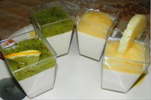 panna cotta, ananas, kiwi, menta